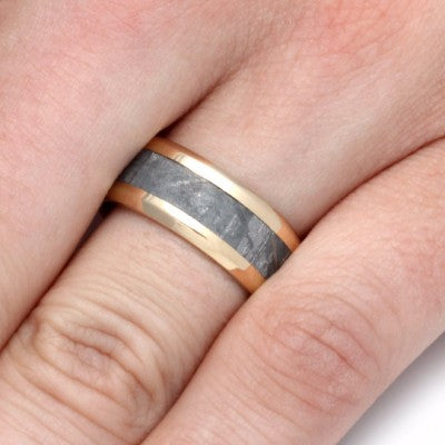 Gold Mens Wedding Band With Gibeon Meteorite-2237 - Jewelry by Johan