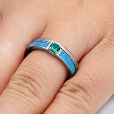Round Emerald Engagement Ring with Opal in 10k White Gold-2833 - Jewelry by Johan
