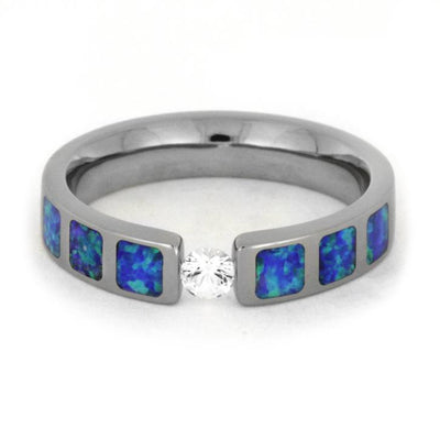 White Sapphire Partial Synthetic Opal Inlays Tension Titanium(4)