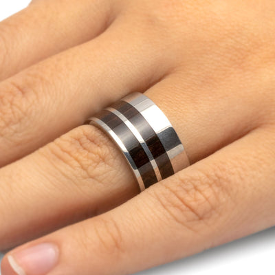 Titanium Ring with African Blackwood Double Pinstripe Inlay-1026 - Jewelry by Johan