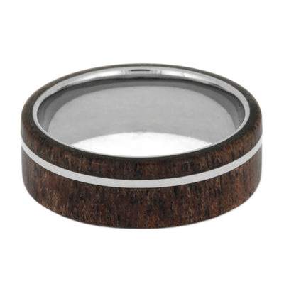Black Mesquite Wood Ring With Titanium Sleeve And Pinstripe-1036 - Jewelry by Johan