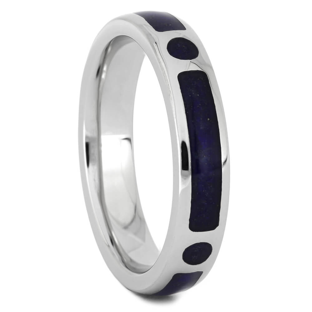 Thin Platinum Wedding Band with Lapis Lazuli-4497 - Jewelry by Johan
