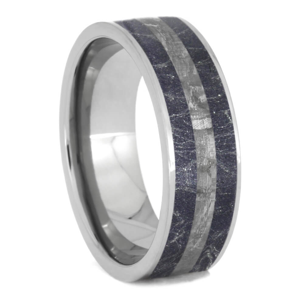 Titanium Ring With Blue Bronze & White Mokume, Meteorite Wedding Band-1038 - Jewelry by Johan