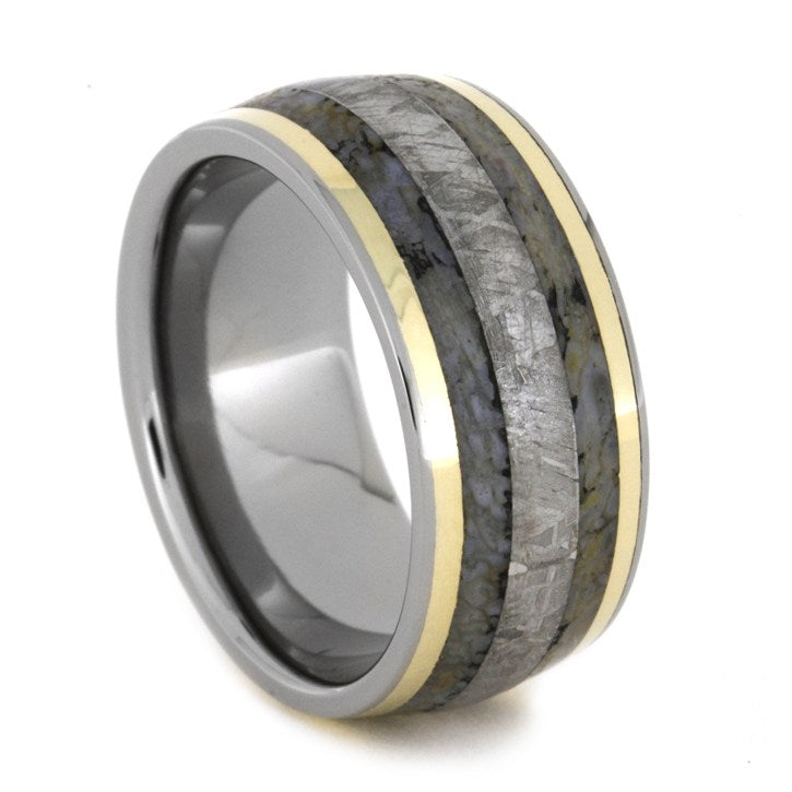 Dinosaur Bone and Meteorite Men's Band With Gold Pinstripes, Size 10.25-RS8404 - Jewelry by Johan