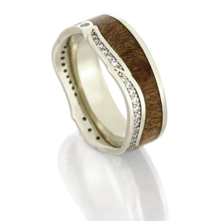 Diamond Eternity Wedding Band With Wood in White Gold-DJ1018WG - Jewelry by Johan