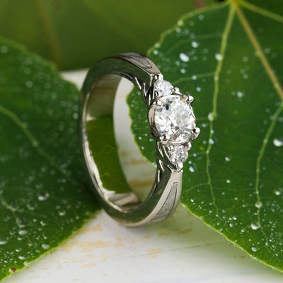 Three Stone Diamond Engagement Ring With Meteorite in Platinum-2669 - Jewelry by Johan