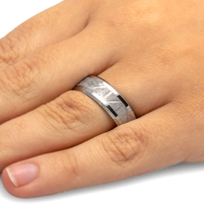 Tungsten Men's Wedding Band With Gibeon Meteorite-1104 - Jewelry by Johan
