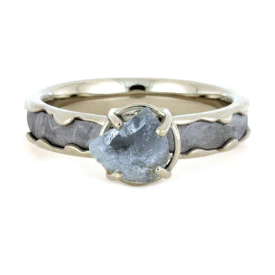 Aquamarine Engagement Ring, Meteorite In Wavy 10k White Gold-3251 - Jewelry by Johan