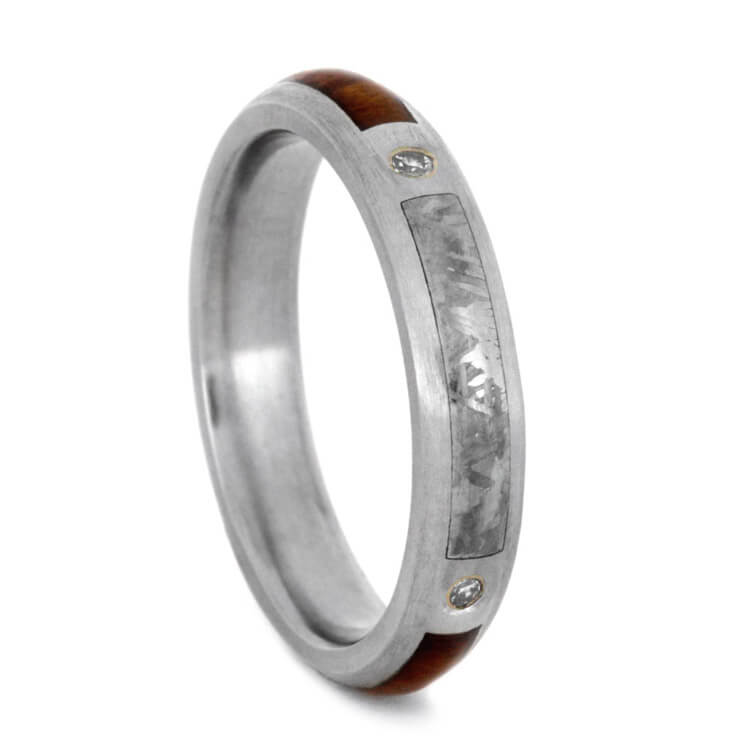 Womens Diamond Wedding Band With Snakewood And Meteorite
