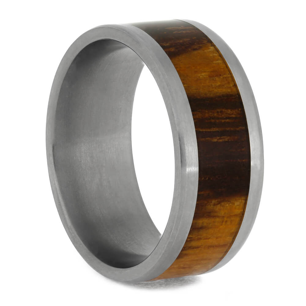 Titanium Wedding Ring with Marble Wood Inlay, Beveled Edge Profile-1160 - Jewelry by Johan