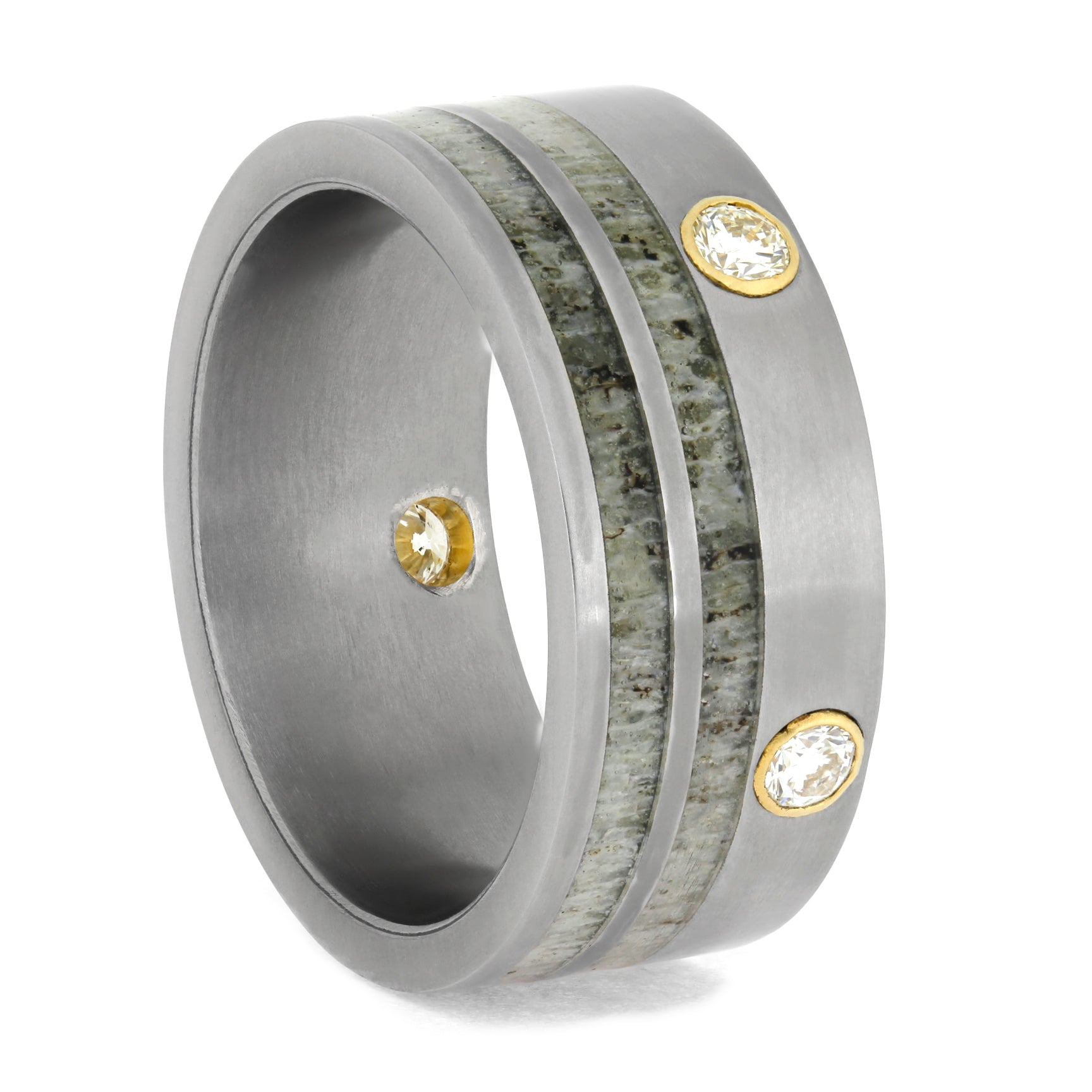 Diamond Ring Accented By Deer Antler In Titanium-1163 - Jewelry by Johan