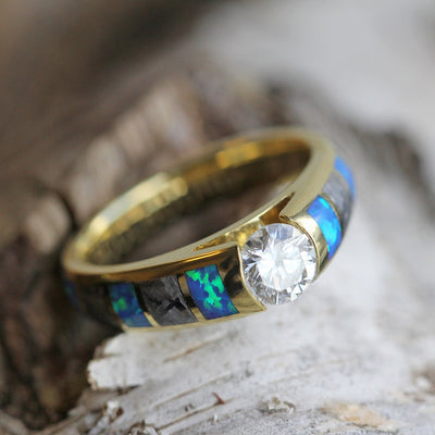 Diamond Engagement Ring, Meteorite And Opal Inlays in Yellow Gold-3409 - Jewelry by Johan