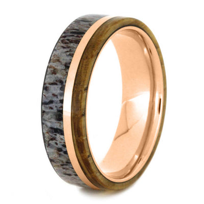 Whiskey Barrel Oak Ring With Deer Antler In Rose Gold-3648 - Jewelry by Johan