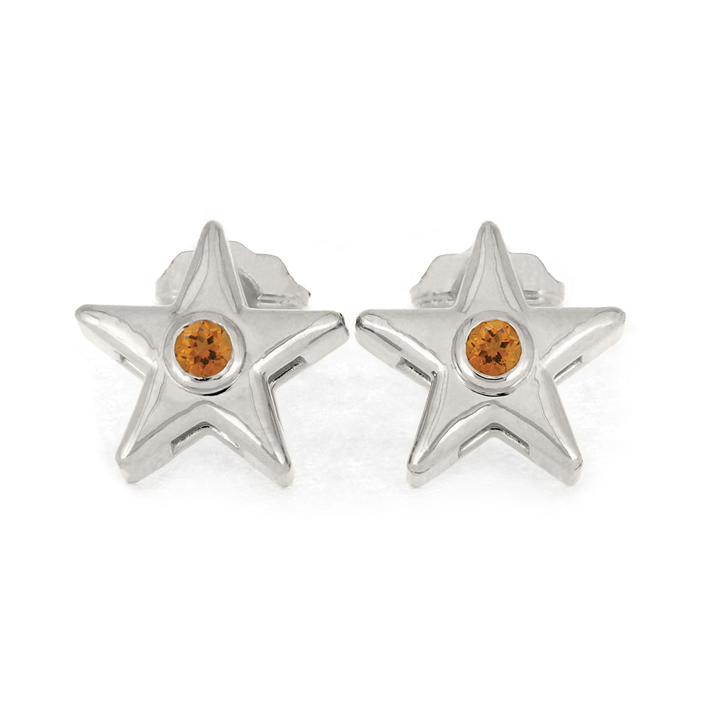 November Birthstone Gold Star Earrings with Citrine-4650CT - Jewelry by Johan