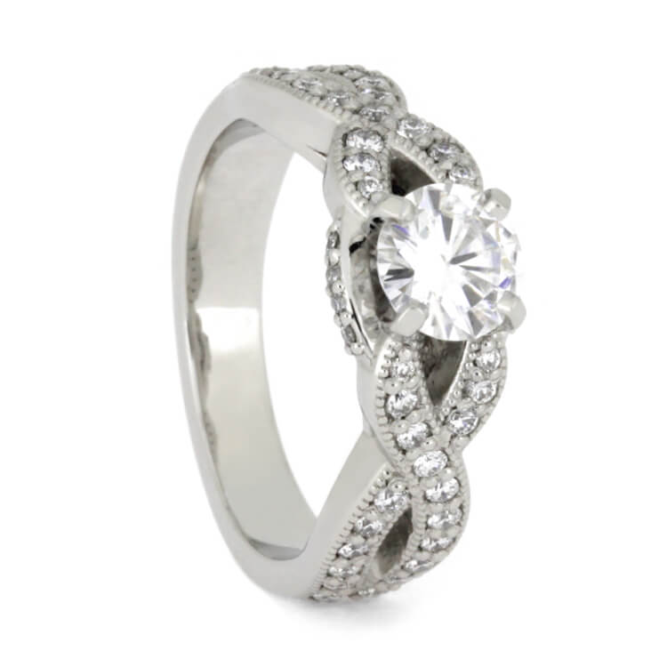 Moissanite Engagement Ring With Diamonds in Platinum-3671 - Jewelry by Johan