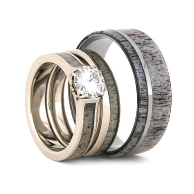 Deer Antler Wedding Ring Set With Moissanite Bridal Set And Men's Wedding Band-3577