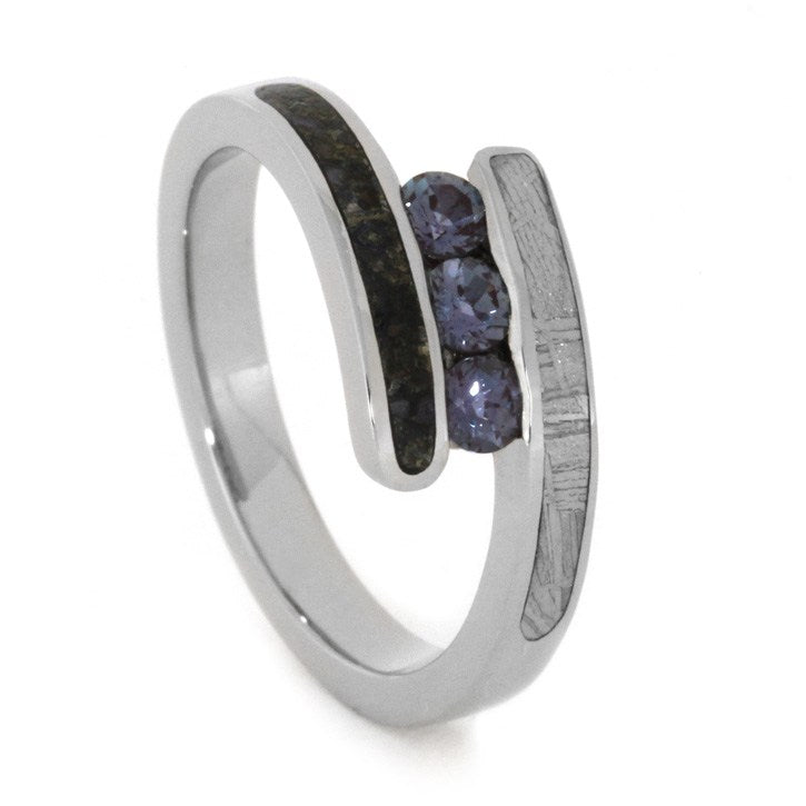 Alexandrite Three Stone Ring With Dinosaur Bone In White Gold-2007 - Jewelry by Johan