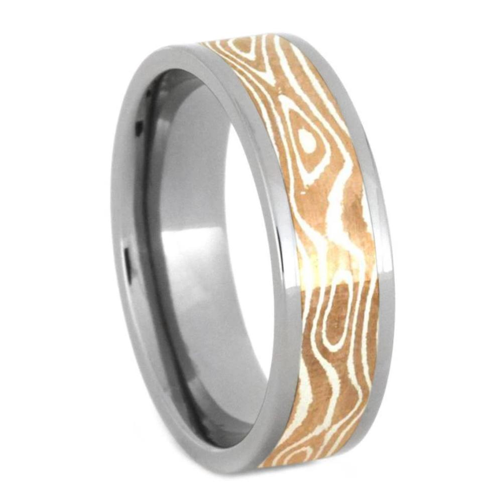 Copper/Silver Mokume Gane Ring with Flat profile Titanium-1207 - Jewelry by Johan
