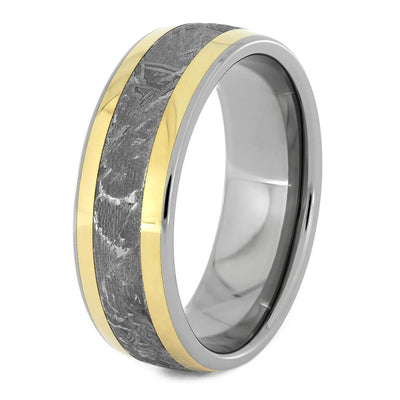 Men's Wedding Band with Meteorite and Yellow gold