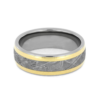 Titanium Wedding Band with Meteorite and Yellow Gold Inlays