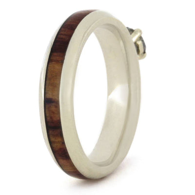 Meteorite Engagement Ring with Tulipwood Inlay. White Gold Ring-3307 - Jewelry by Johan