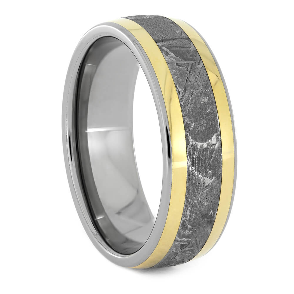 Titanium Men's Wedding Band with Meteorite and Yellow Gold Inlays-1219 - Jewelry by Johan