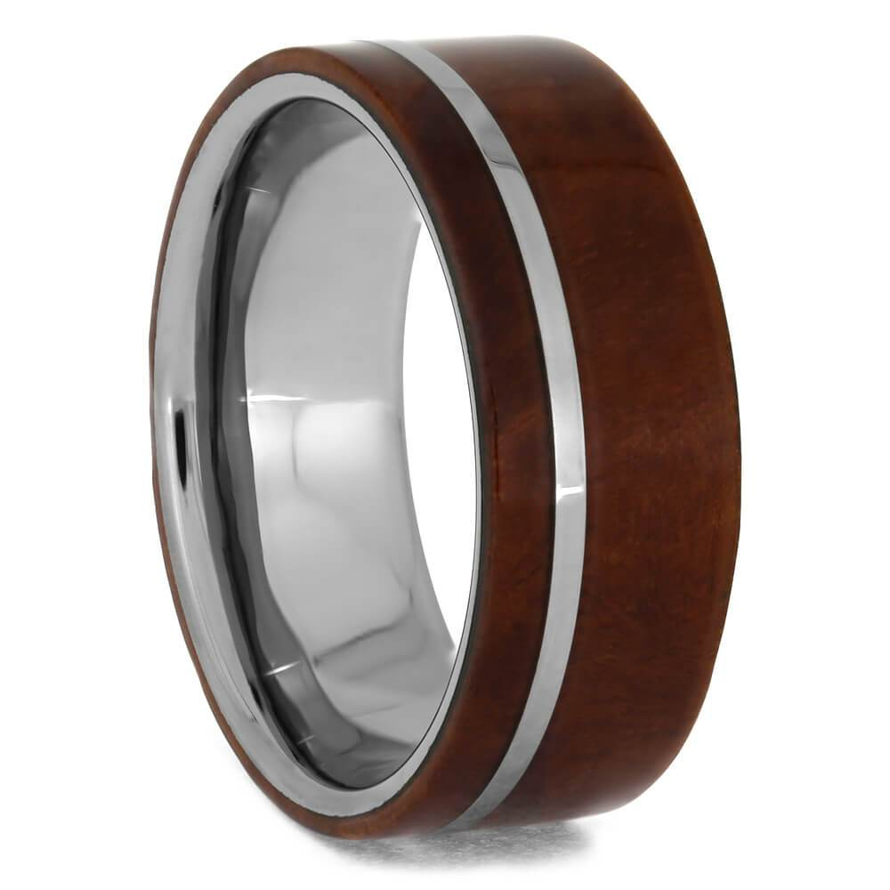 Ironwood Burl and Tungsten Wedding Band