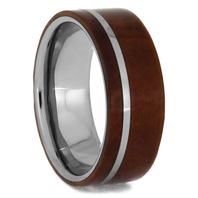 Tungsten Wedding Band With Exotic Ironwood Burl Wood-1220 - Jewelry by Johan