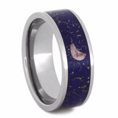 Blue Stardust™ Ring with Rhodonite Crescent Moon-2196 - Jewelry by Johan