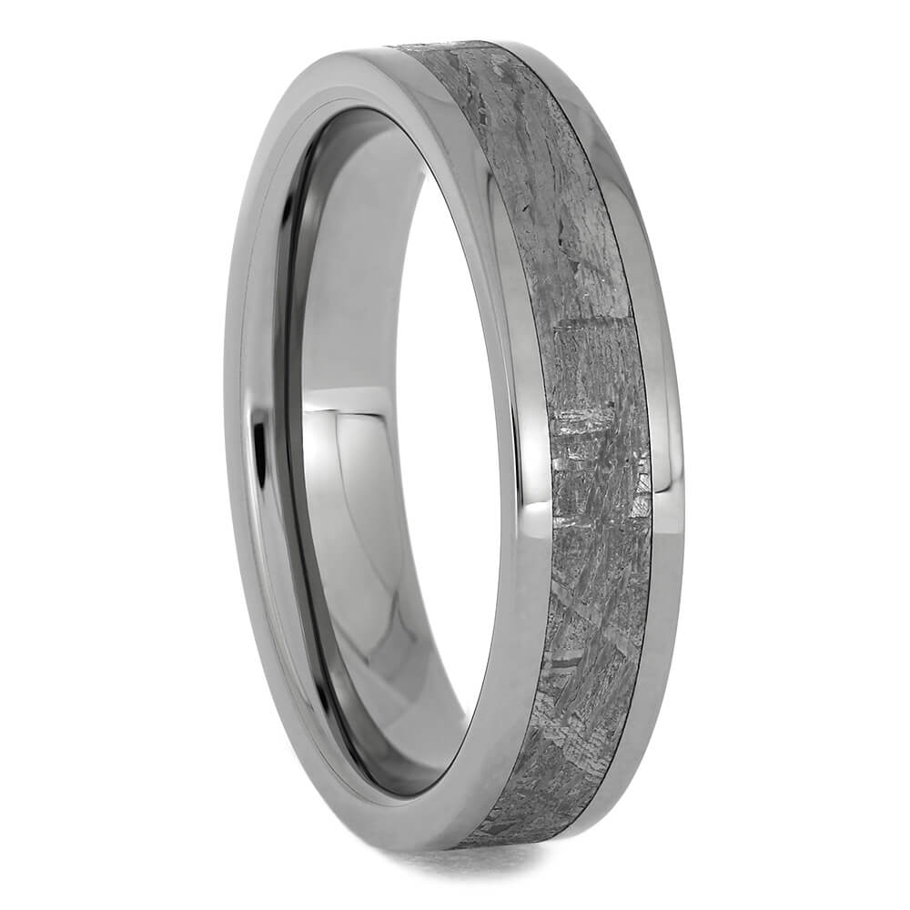 Authentic Meteorite & Titanium Ring, 5mm Band-1240 - Jewelry by Johan