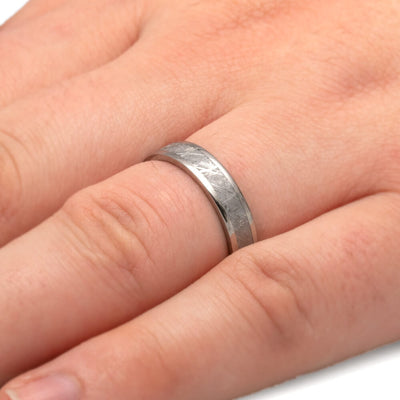 Flat Profile Titanium Ring Inlaid With Gibeon Meteorite-1240 - Jewelry by Johan