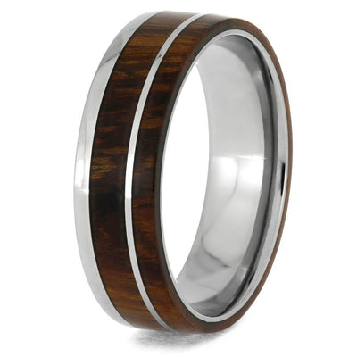 Titanium Ring with Ironwood and Titanium Pinstripe Inlay-1251 - Jewelry by Johan