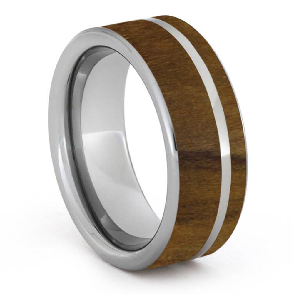 Custom Olive Wood Ring on Titanium Band-1259 - Jewelry by Johan
