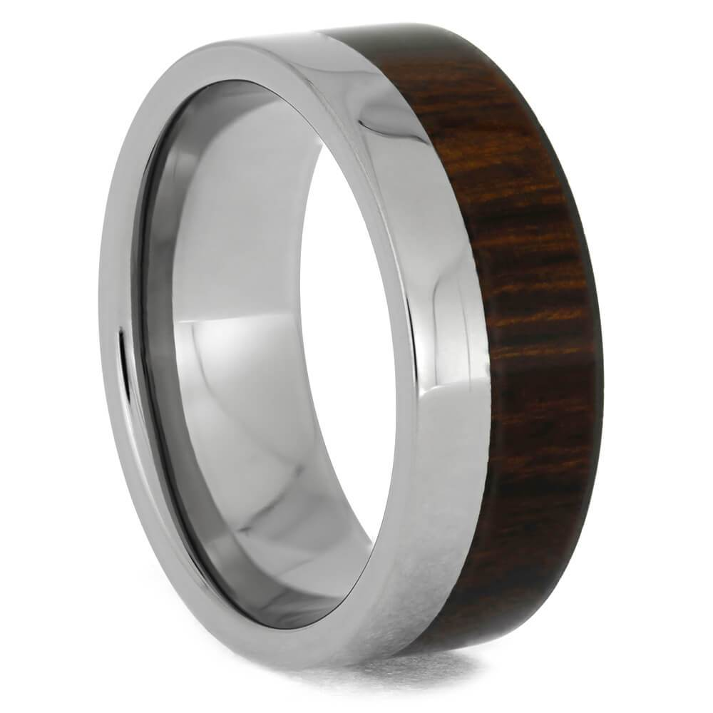 Titanium Ring and Offset Ironwood Overlay-1275 - Jewelry by Johan