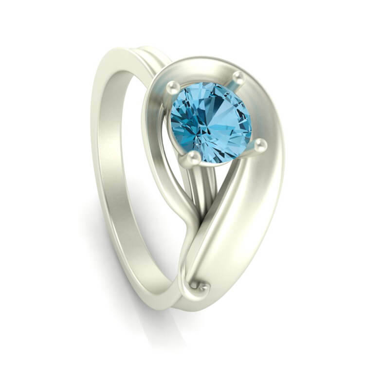 Blue Topaz Engagement Ring With Swirl Design in White Gold-3512 - Jewelry by Johan