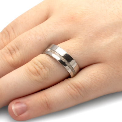 Pets Ashes Ring Inlaid on a Titanium Band-1287 - Jewelry by Johan