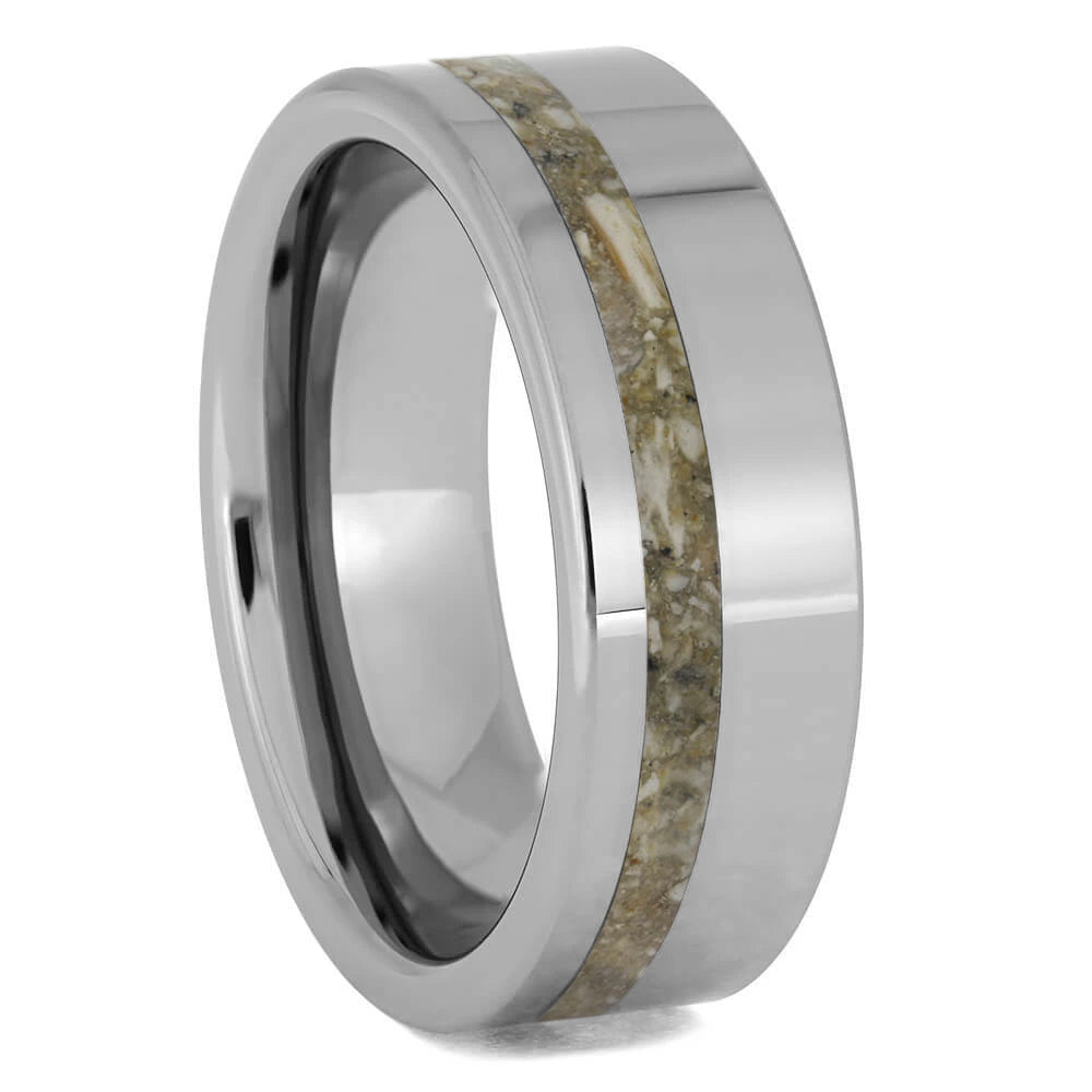 Ashes Ring Inlaid on a Titanium Band-1287 - Jewelry by Johan