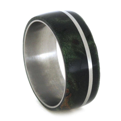 Matching Green Box Elder Burl Wedding Band Set, Titanium Rings-3472 - Jewelry by Johan