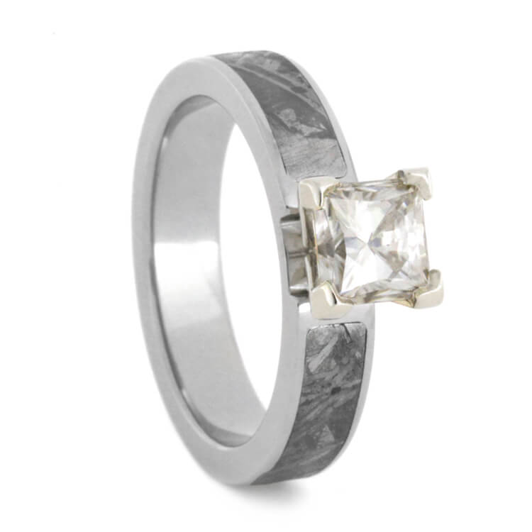 Forever One Moissanite Engagement Ring with Meteorite-3129 - Jewelry by Johan