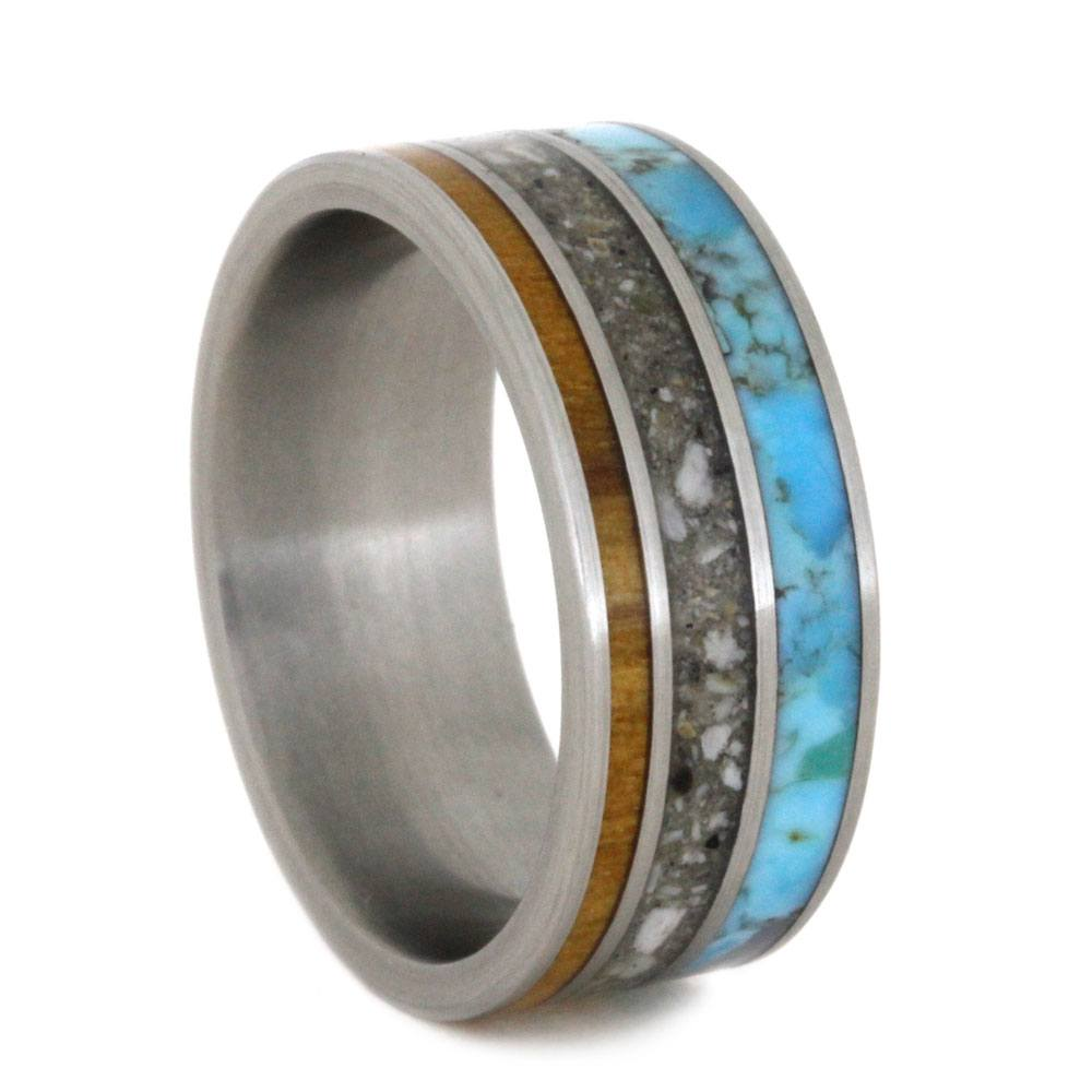 Turquoise and Olive Wood Memorial Ring-2797 - Jewelry by Johan