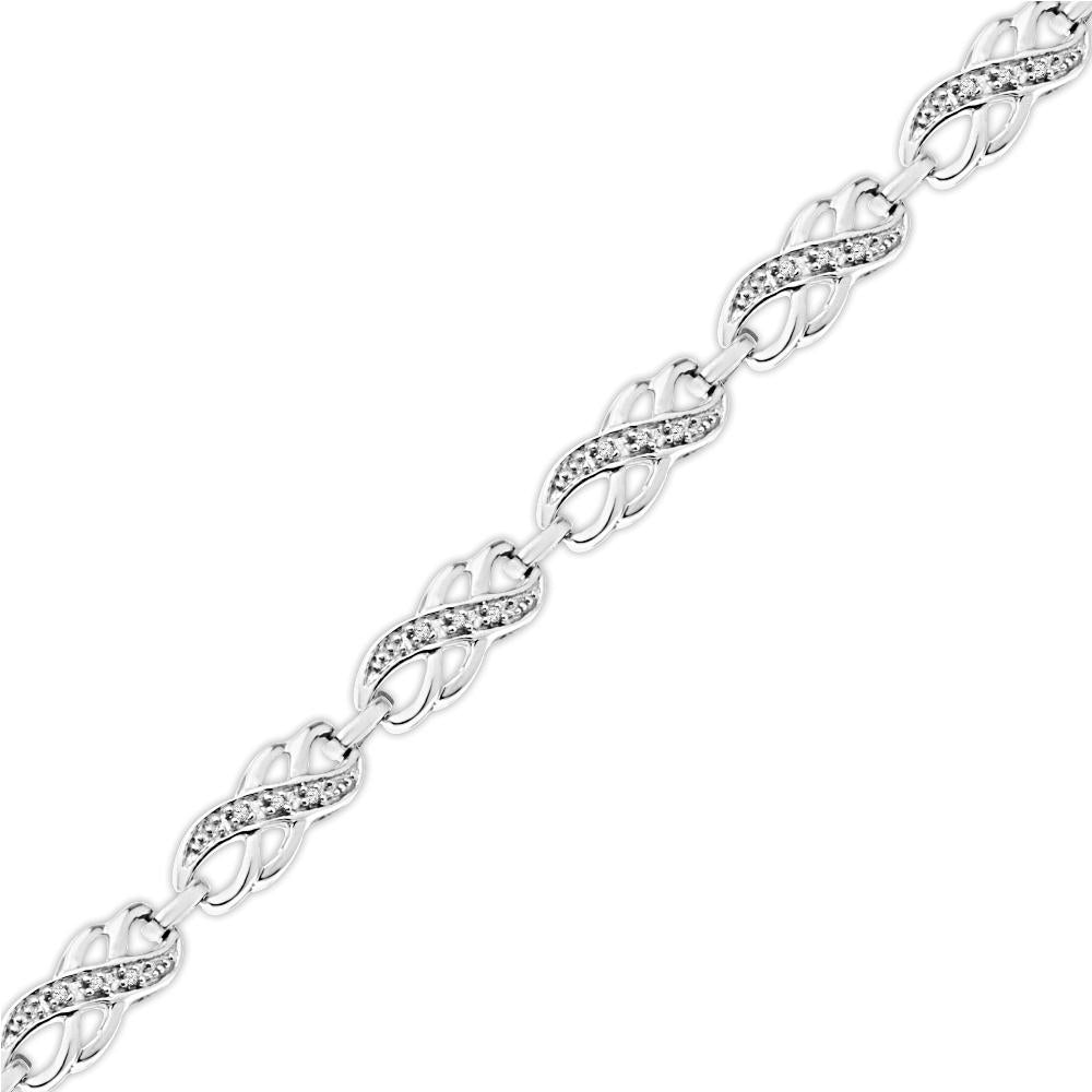 Diamond Infinity Symbol Bracelet, Silver or White Gold-SHBF070769BAW - Jewelry by Johan