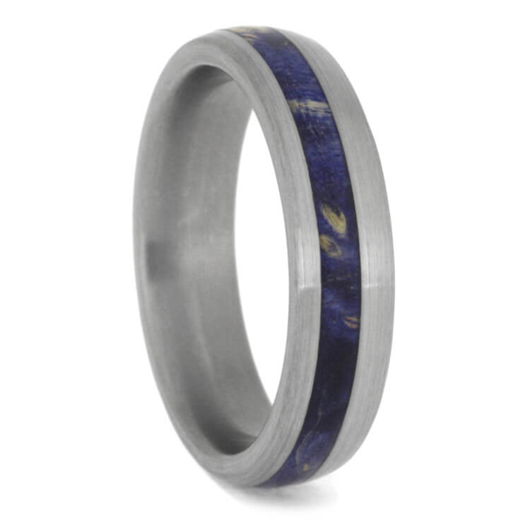 Blue Box Elder Burl Wood Wedding Band, Brushed Titanium Ring-2437 - Jewelry by Johan