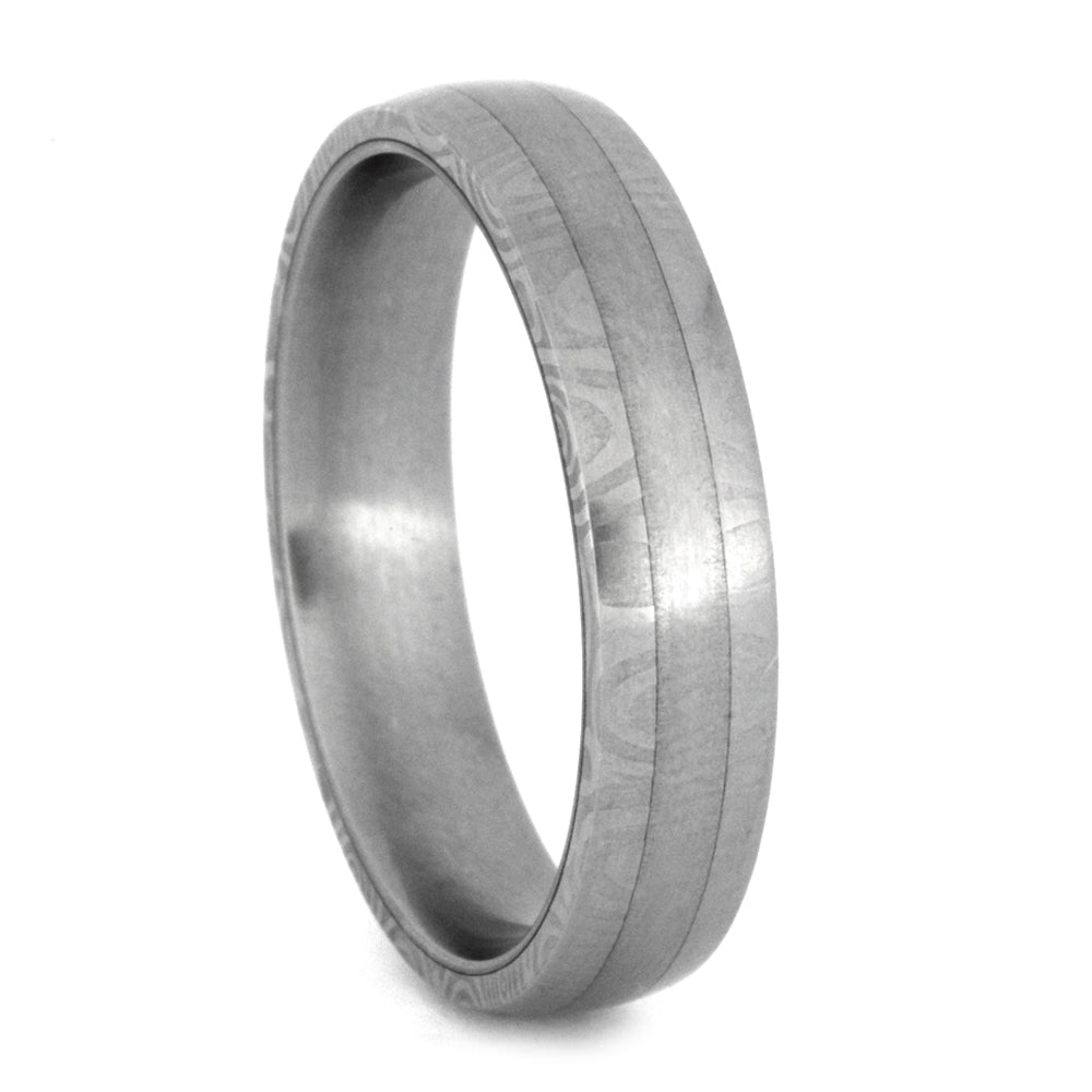 Thin Titanium Wedding Band With Damascus Steel Edges, Size 9.5-RS8875 - Jewelry by Johan