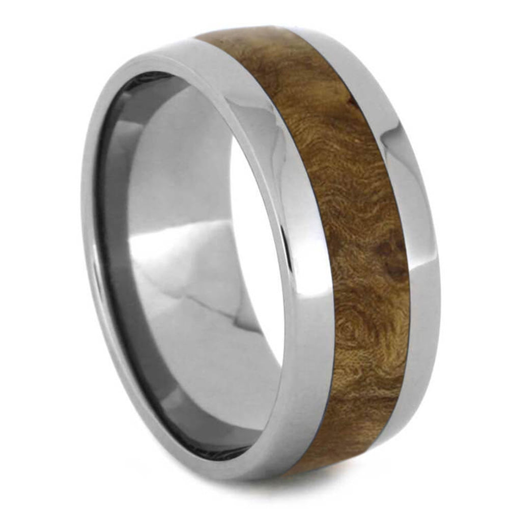 Black Ash Burl Wood Ring with Titanium Edges-1329 - Jewelry by Johan