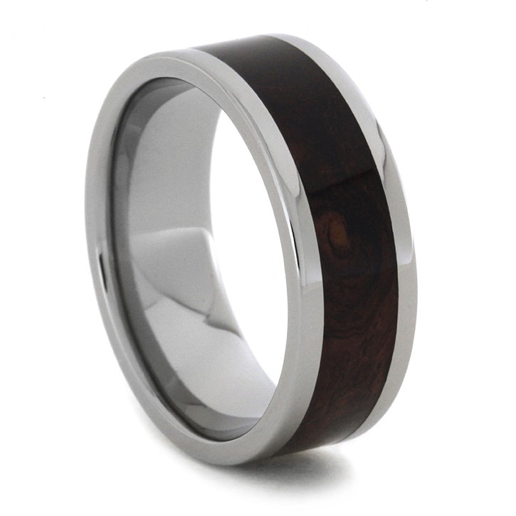 Wood Wedding Band Honduran Rosewood Burl in a Titanium Ring-1850 - Jewelry by Johan