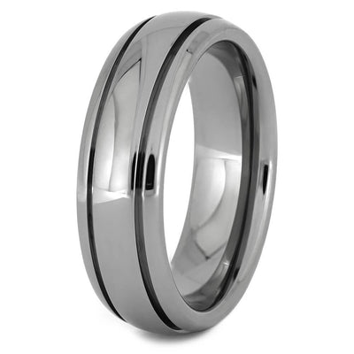 Polished Titanium Ring with Two Grooved Pinstripes