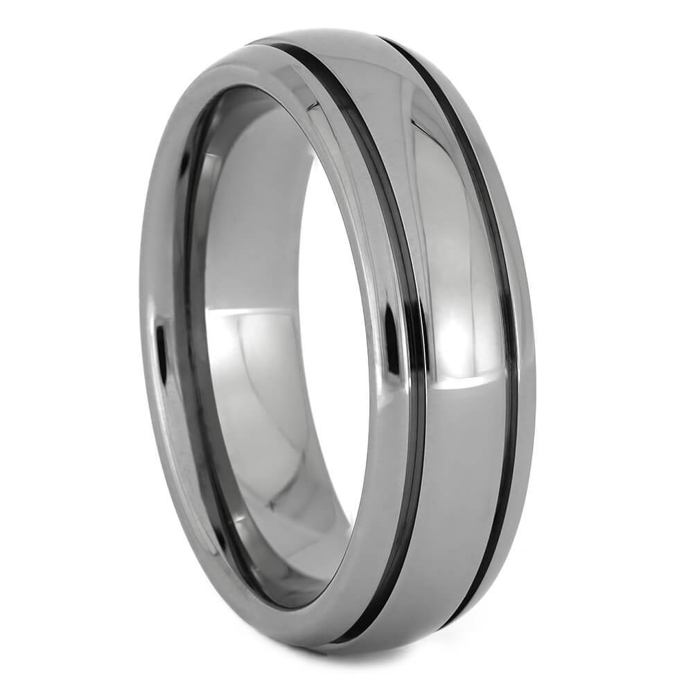 Titanium Wedding Band with Grooved Pinstripes-1354 - Jewelry by Johan
