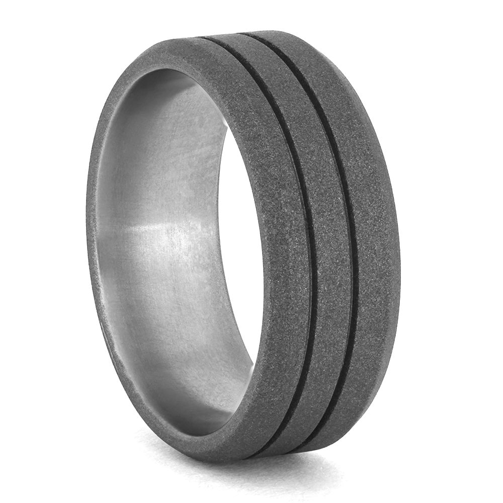 Sandblasted Titanium Wedding Ring-1358 - Jewelry by Johan