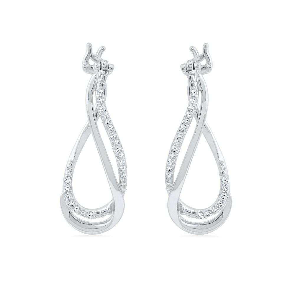 Sterling Silver Diamond Dangle Earrings-SHEH014871CTW-SS - Jewelry by Johan