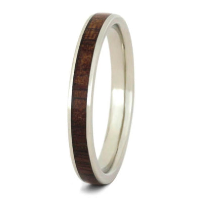 Koa Wood Wedding Band For Women, 10k White Gold-2305 - Jewelry by Johan